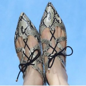 Topshop snakeskin lace up pointed toe flats
